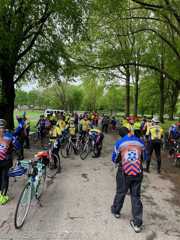 Riders assembling for day #4 of the National EMS Memorial Bike Ride,