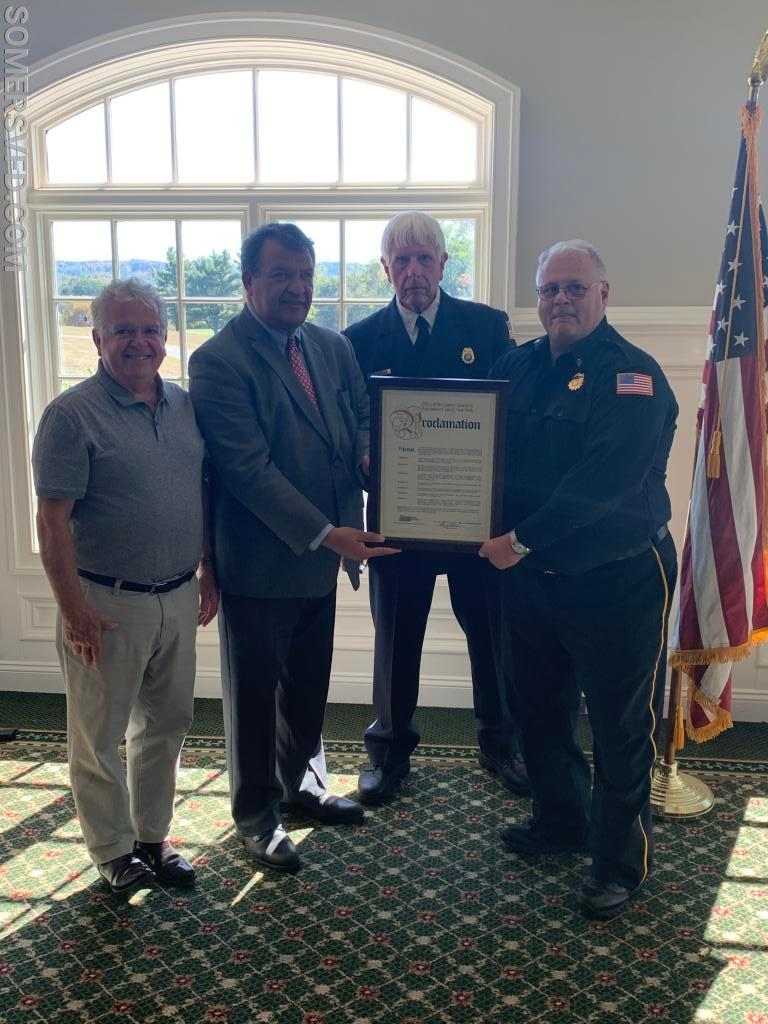 County Executive Latimer presented Chairman Markiewicz and Chief of Department Jockimo with a proclamation on behalf of Westchester County