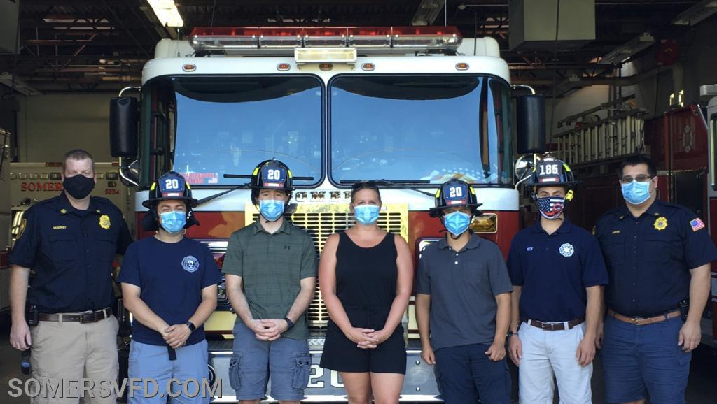 Pictured from L to R: Chief of Department Jon Mackey, Firefighter Loretta-Catucci Jr., Firefighter B. Lieberman, Firefighter/Junior Corp Advisor Shannon Mackey, Firefighter R. Latella, Engineer N. Latella, 2nd Assistant Chief Greg Lucia
